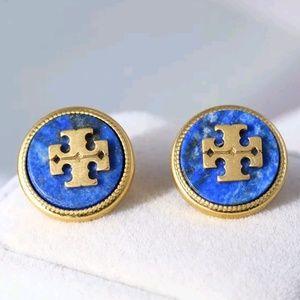 Tory Burch Gold & Blue Logo Lapis Lazuli Earrings